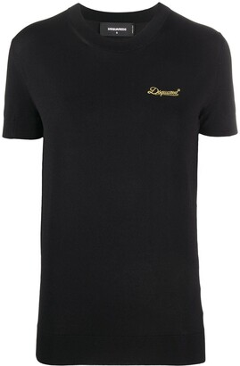 DSQUARED2 Logo-Embroidered Knitted Top