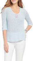 Nic+Zoe Magnolia Open Stitch Cotton Blend Sweater
