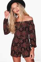 boohoo Heidi Off the Shoulder Playsuit multi