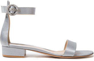 Gianvito Rossi Portofino 20 Metallic Satin Sandals