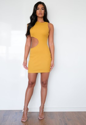 Missguided Mustard Rib Crew Neck Cut Out Mini Dress