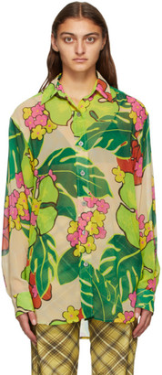 Dries Van Noten Pink and Multicolor Crepe Floral Shirt