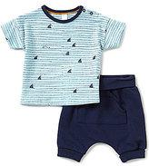 Petit Lem Baby Boys 3-24 Months Shark-Print Tee & Solid Shorts Set