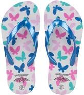 Board Angels Girls Butterfly Print Flip Flops White/Blue