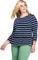 Lands'end Women's Plus Size 3/4 Sleeve Stripe Boatneck Peplum Top
