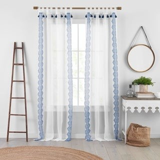 Josie Accessories Shilo Boho Sheer Tab Top Window Curtain Panel with Tassels