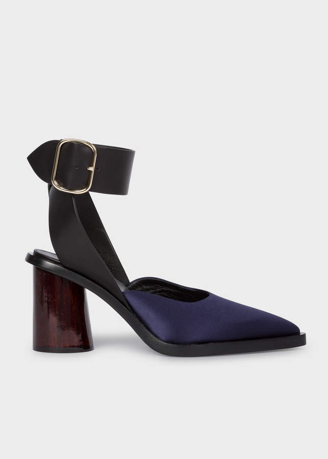 Paul Smith Women's Dark Navy Satin & Leather 'Gaia' Sandals