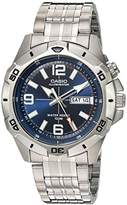 Casio Men's MTD1082D-2AV Super Illuminator Analog Quartz Silver Stainless Steel Watch