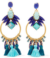 Elizabeth Cole Tasseled burnished gold-plated, Swarovski crystal and glass stone earrings