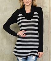 Celeste Black & White Stripe Cowl-Neck Top
