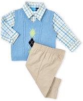 Good Lad Infant Boys) 3-Piece Argyle Vest & Khaki Pants Set