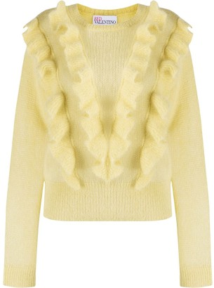 RED Valentino Ruffled Crew Neck Jumper