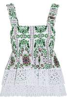 Tory Burch Shirred Printed Silk-Georgette And Broderie Anglaise Cotton Top