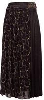 Junya Watanabe Layered Floral-print Crepe And Satin Skirt - Womens - Black Multi
