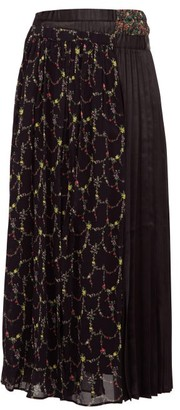 Junya Watanabe Layered Floral-print Crepe And Satin Skirt - Womens - Black Multi