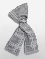 Calvin Klein Womens Allover Lurex Grid Blanket Scarf Charcoal