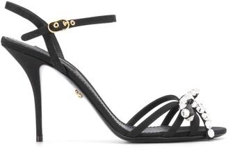 Dolce & Gabbana Crystal-Embellished Buckle-Strap Sandals