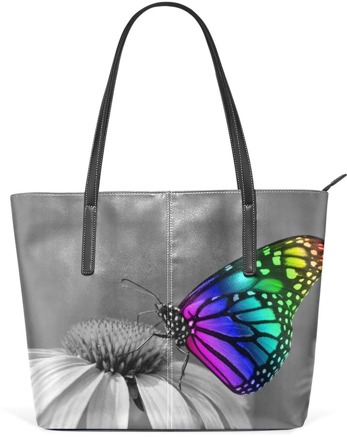 4c742f1ff428 DEYYA Handbag Color Butterfly On The Fower Pattern Print Large Tote Top  Handle Shoulder Bags