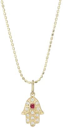 Sydney Evan Diamond, Ruby & 14K Yellow Gold Hamsa Pendant