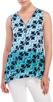 Cable & Gauge Sleeveless Printed Zip-Front Top