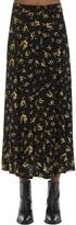 Thumbnail for your product : Ganni Printed Crepe Midi Skirt
