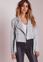 Missguided Tall Faux Suede Biker Jacket Grey