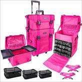 SHANY Soft Makeup Artist Rolling Trolley Cosmetic Case with Free Set of Mesh Bags