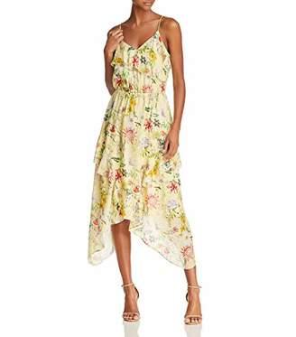 Parker Women's Vanna Spaghetti Strap Ruffle Midi Length Silk Dress
