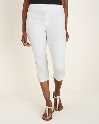 Chico's No-Stain White Pull-On Denim Capris