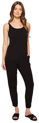 Eileen Fisher Scoop Neck Long Cami (Black Stretch Silk Jersey) Women's Clothing