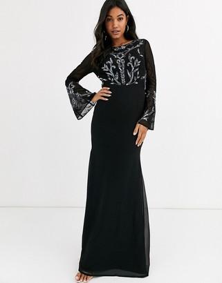 Maya embellished long sleeve maxi dress-Black