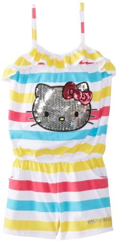 Hello Kitty Big Girls' Striped Romper with Sequin Applique