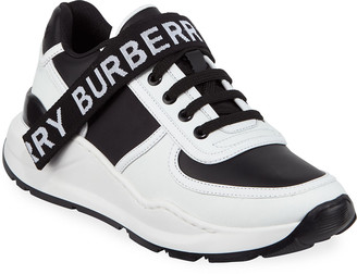 Burberry Ronnie Two-Tone Leather Logo Sneakers