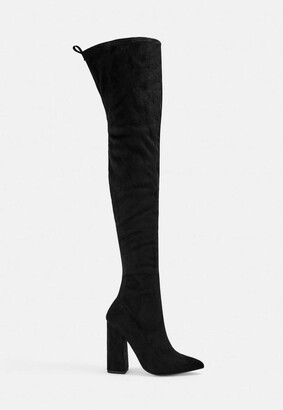 Missguided Black Block Heel Faux Suede Over The Knee Boots