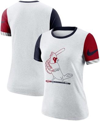Nike Women's Heathered White St. Louis Cardinals Slub Two-Tone Logo Performance Crew Neck T-Shirt