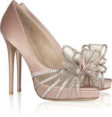 Valentino Crystal Versailles Bow satin sandals