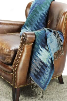 Melange Home Yarn Dyed Ikat Wool Throw - Blue Multi