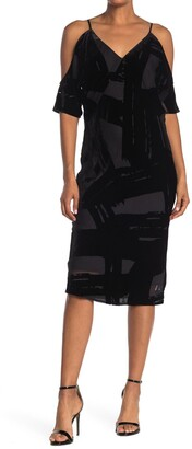 Trina Turk Spotlight Cold Shoulder Burnout Velvet Midi Dress
