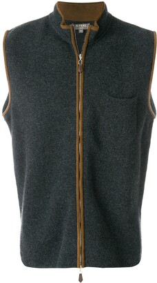 N.Peal Suede Trim Cashmere Gilet