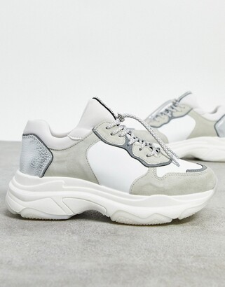 Bronx chunky trainers in white leather