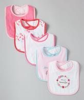 Luvable Friends Pink & White Floral Bib - Set of Five