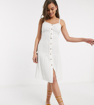 Brave Soul Petite karma button front broderie maxi dress in white