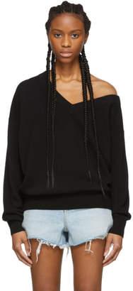 Alexander Wang Black Wool Asymmetrical V-Neck Sweater