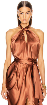 Johanna Ortiz City Scape Draped Halter Silk Top in Dark Caramel | FWRD