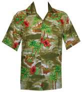 Alvish Hawaiian Shirt Mens Senic Flower Print Beach Aloha Party Holiday Camp