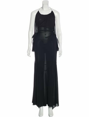 Alaia Asymmetrical Maxi Dress Black