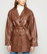 New Look NAKD Leather-Look Belted Jacket