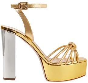 Giuseppe Zanotti Lavinia Knotted Metallic Leather Platform Sandals