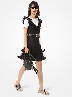 Michael Kors Flocked Tulle Ruffle Dress