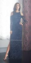Aidan Mattox Sequin Long Sleeve Cold Shoulder Evening Dress
